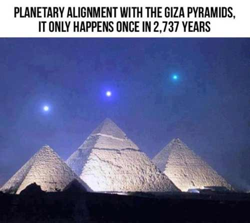 Fake picture purporting to show rare alignment of planets with the pyramids of Giza